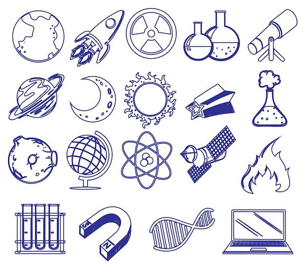 Différentes images scientifiques Vecteur gratuit