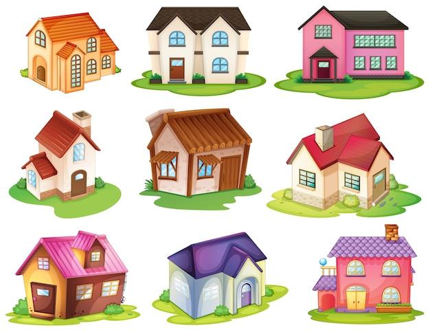 Différentes Maisons Vecteur Premium