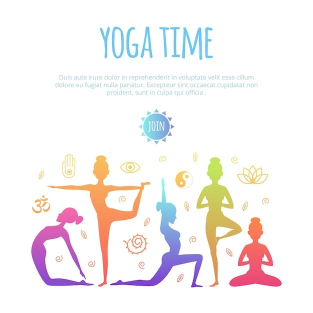 Différentes personnes pratiquant le yoga Vecteur Premium