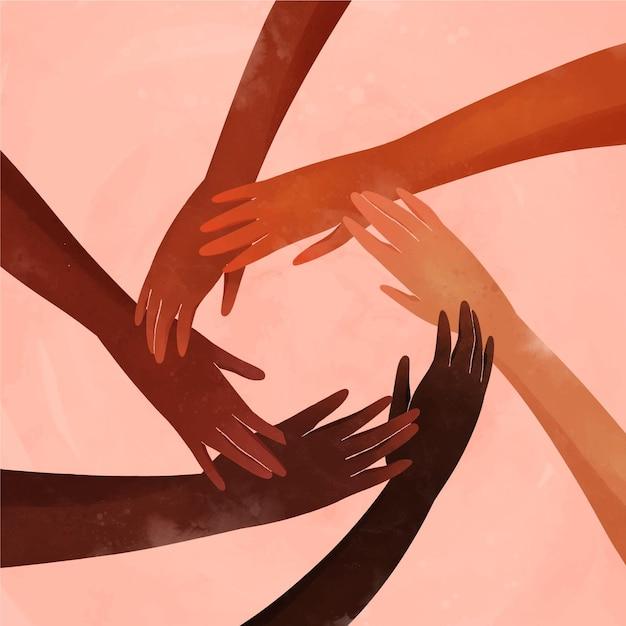 Différentes Personnes Se Joignant Au Mouvement Contre Le Racisme Vecteur gratuit