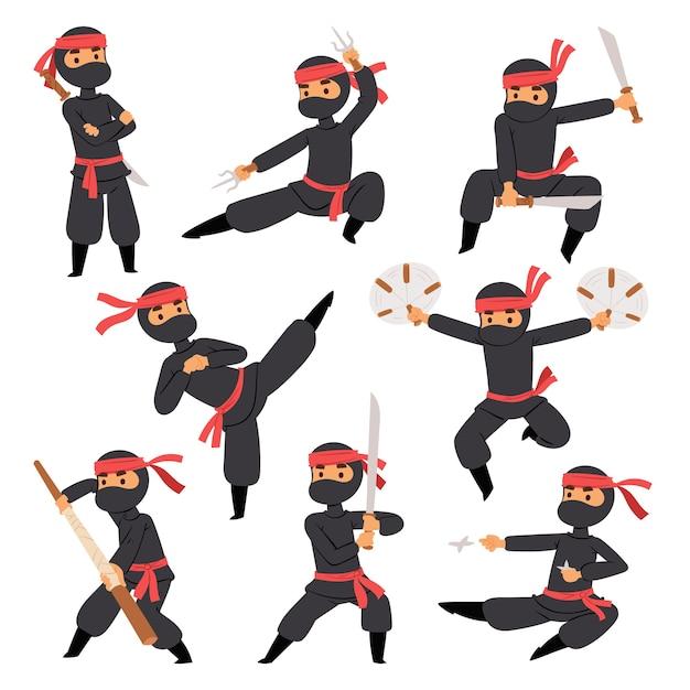 Différentes Poses De Combattant Ninja En Tissu Noir Personnage Guerrier épée Arme Martiale Homme Japonais Et Masque D'action De Personne De Dessin Animé De Karaté Vecteur Premium