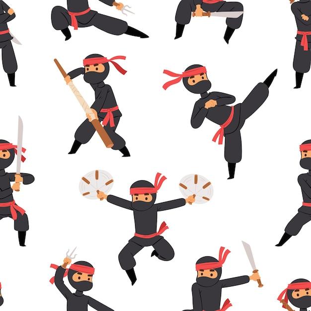 Différentes Poses De Combattant Ninja En Tissu Noir Personnage Guerrier épée Arme Martiale Homme Japonais Et Modèle Sans Couture De Personne De Dessin Animé De Karaté. Vecteur Premium
