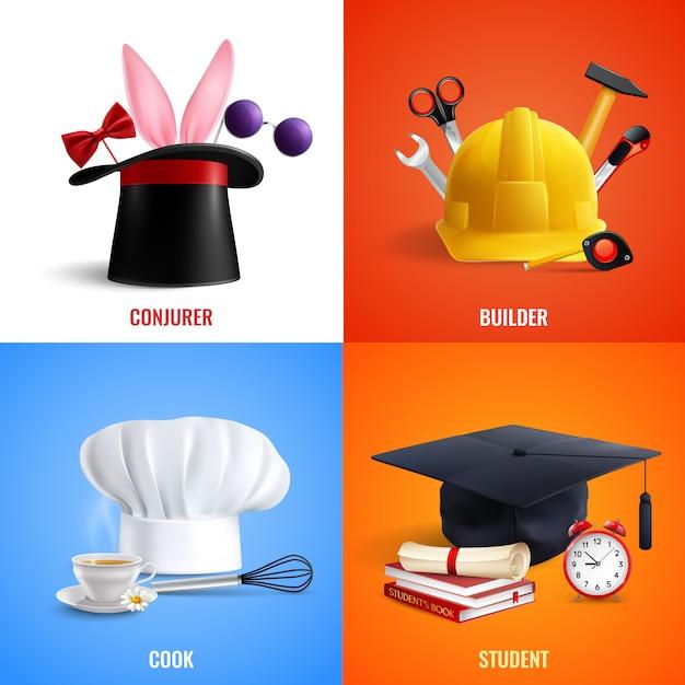 Différentes Professions Chapeaux Concept Illustration Vecteur gratuit