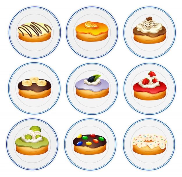 Différentes saveurs de beignets Vecteur gratuit