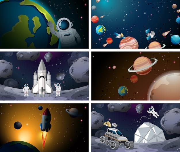 Différentes scènes du système solaire Vecteur gratuit