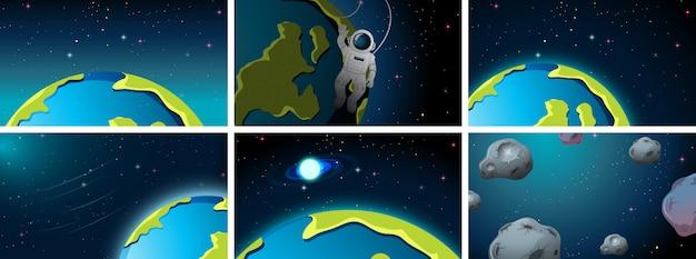 Différentes scènes de l'espace terrestre ou de fond Vecteur gratuit