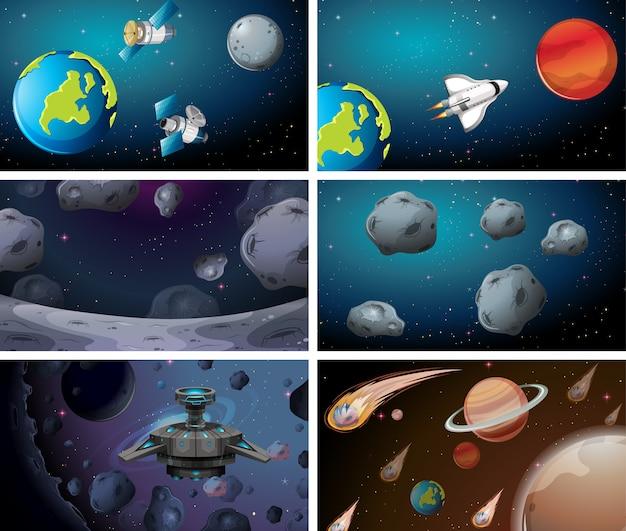 Différentes scènes de l'espace Vecteur gratuit