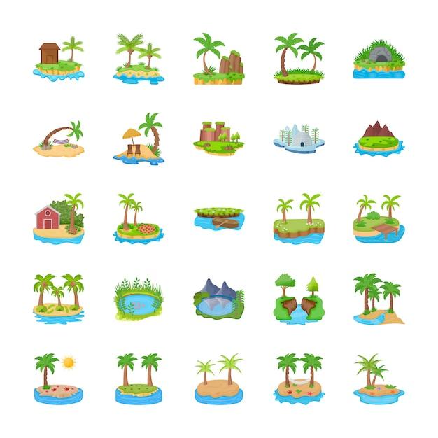Différentes Scènes D'icônes Plates Des îles Vecteur Premium