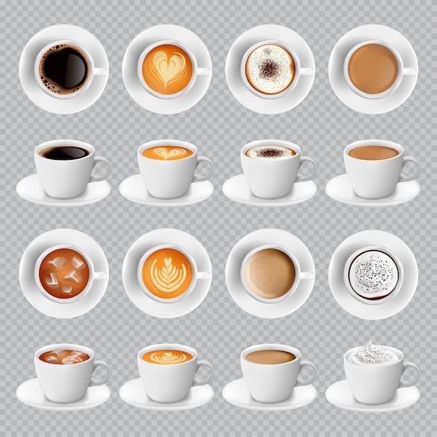 Différentes sortes de café réalistes dans des tasses blanches Vecteur Premium