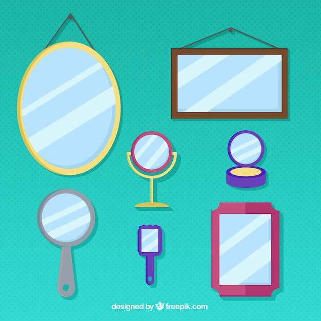 Différentes sortes de miroirs Vecteur gratuit