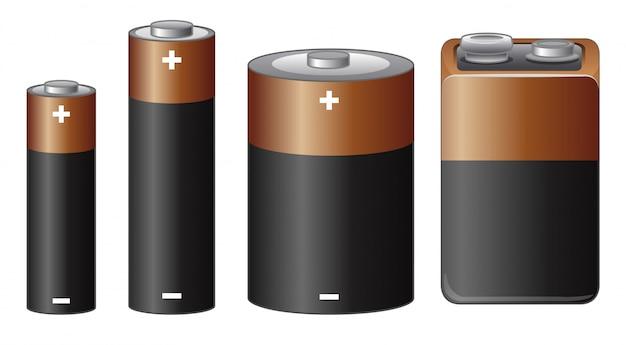 Différentes tailles de batterie Vecteur gratuit
