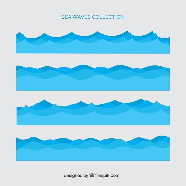 Différentes vagues de la mer Vecteur gratuit