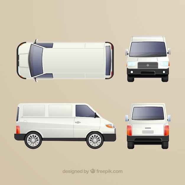 Différentes vues de camionnette blanche Vecteur gratuit