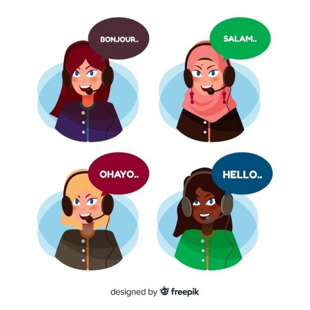 Différents avatars du centre d'appels en style plat Vecteur gratuit