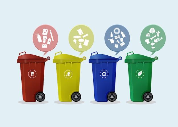 Différents bacs à roulettes colorées avec icône de déchets Vecteur Premium