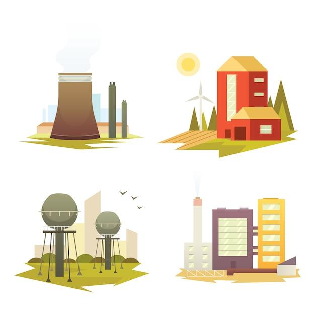 Différents Bâtiments Et Usines D'usines Industrielles. Illustrations De Jeu De Construction De Ville Industrielle. Vecteur Premium