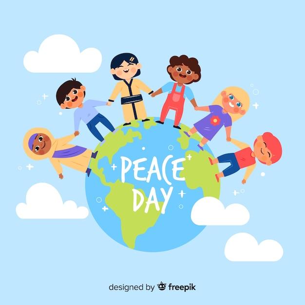 Différents enfants se tenant la main dans le monde Vecteur gratuit