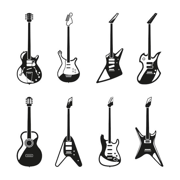 Différents ensembles de guitares électriques rock. images monochromes vectorielles Vecteur Premium