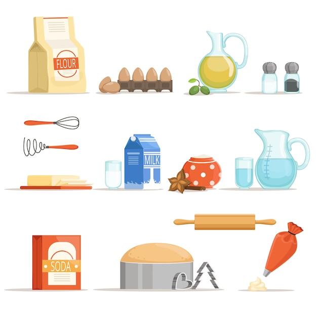 Différents ingrédients alimentaires pour la cuisson et la cuisson Vecteur Premium