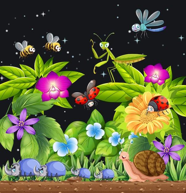 Différents Insectes Vivant Dans La Scène Du Jardin La Nuit Vecteur gratuit