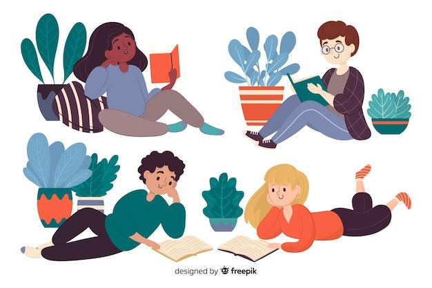 Différents jeunes lisant ensemble illustrés Vecteur gratuit