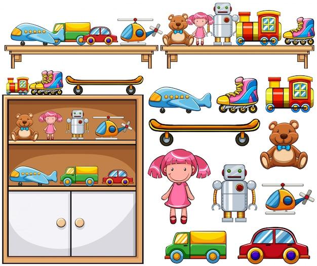 Différents jouets sur les étagères en bois Vecteur gratuit