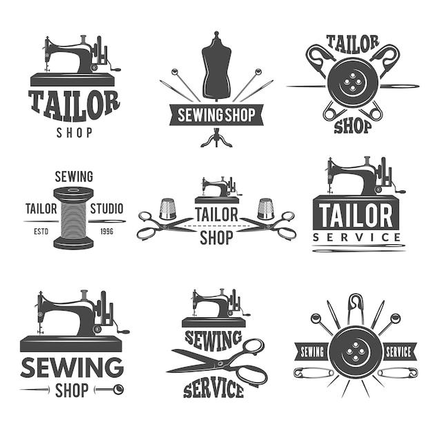 Différents labels ou logos définis pour le tailleur Vecteur Premium