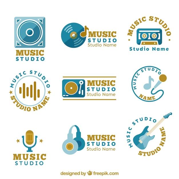 Différents Logos Pour Un Studio De Musique Vecteur gratuit