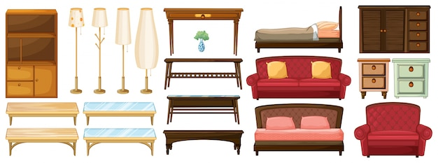 Différents meubles Vecteur gratuit
