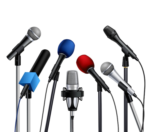Différents microphones de conférence de presse multicolores Vecteur gratuit
