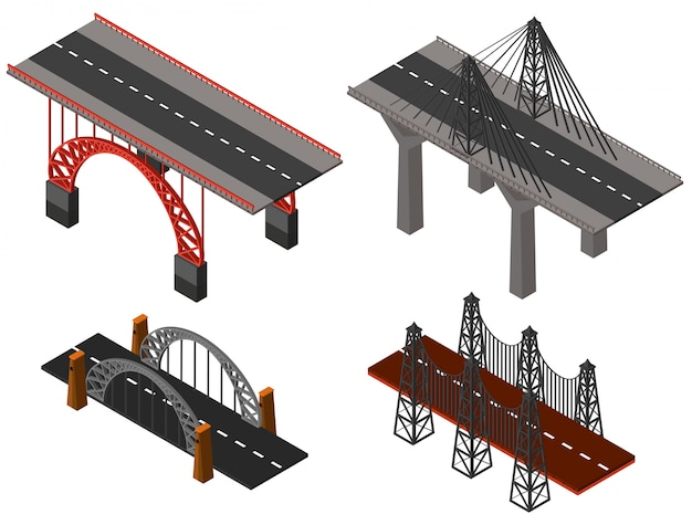 Différents modèles de ponts Vecteur Premium