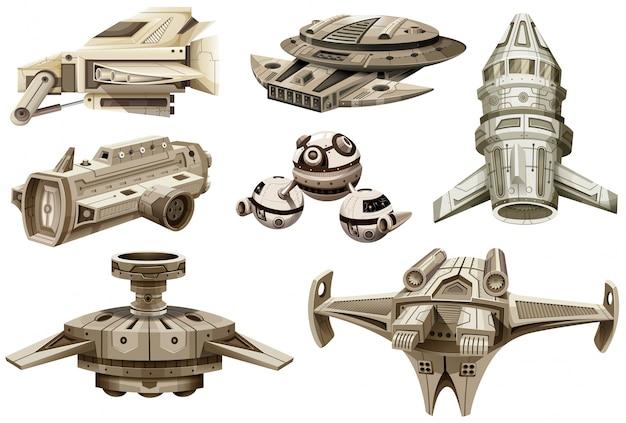 Différents modèles de vaisseaux spatiaux Vecteur gratuit