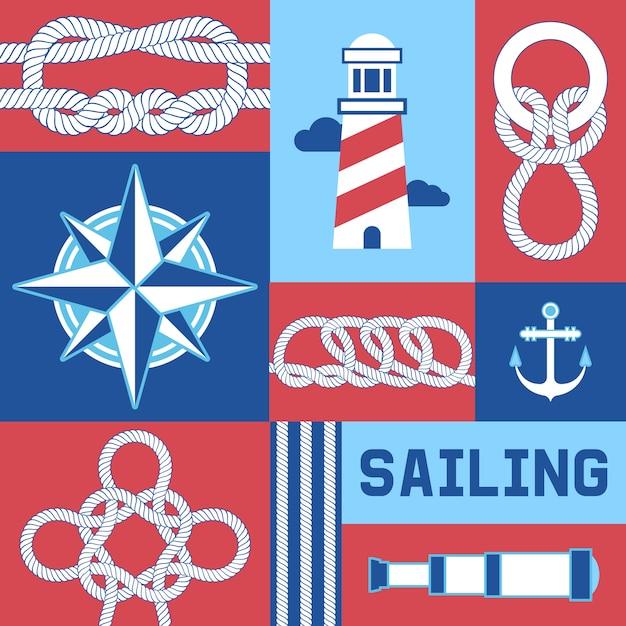 Différents Noeuds Marins Nautiques Et Cordes Compas, Ancre, Illustration De Phare. Vecteur Premium