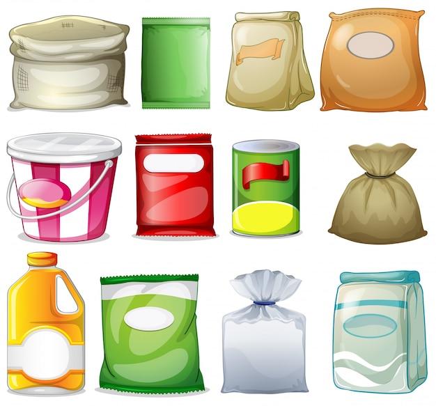 Différents packs et conteneurs Vecteur gratuit