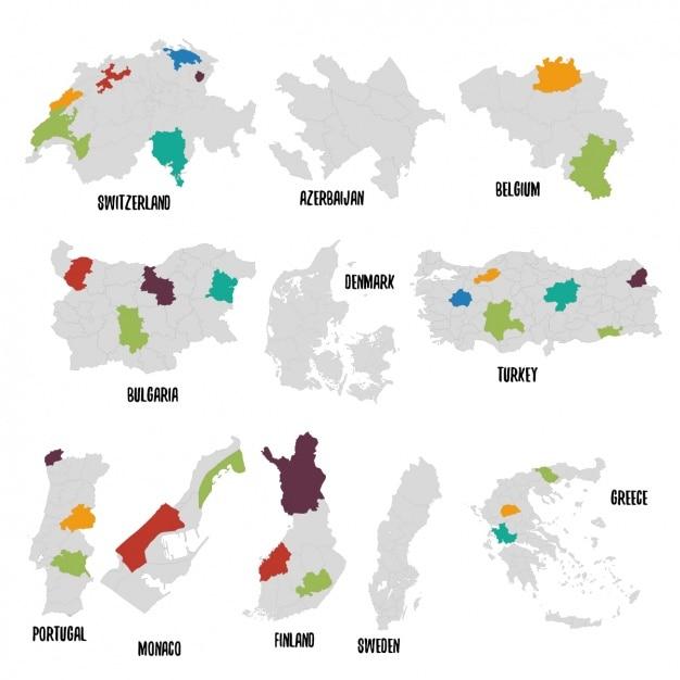 Différents pays carte politique Vecteur gratuit
