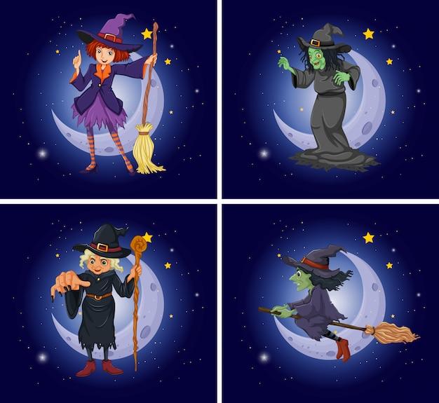 Différents personnages de sorcière sur balai magique Vecteur Premium