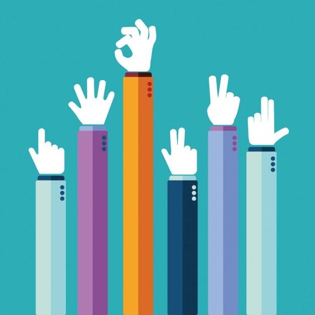 Différents signes de la main Vecteur gratuit