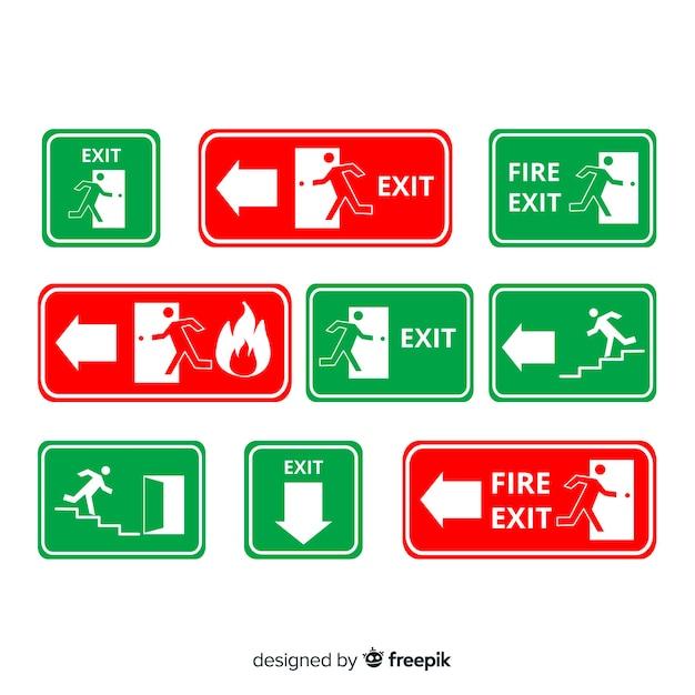 Différents signes de sortie Vecteur gratuit
