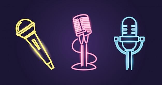 Différents styles de microphone, chemin de couleur néon Vecteur gratuit