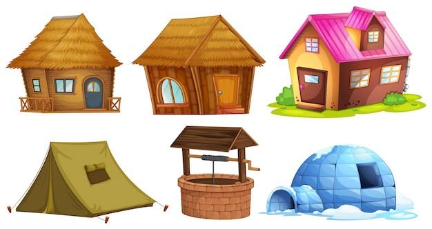 Différents Types D'abris D'illustration Vecteur gratuit