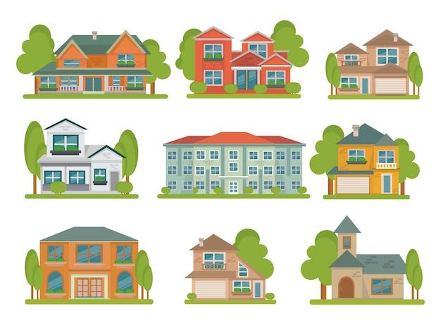 Différents Types De Bâtiments Colorés Isolés Avec Des Espaces Verts Autour Vecteur gratuit