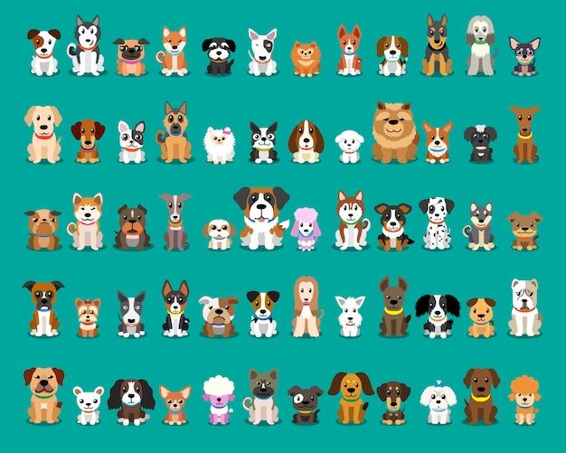 Différents types de chiens de dessin animé de vecteur Vecteur Premium