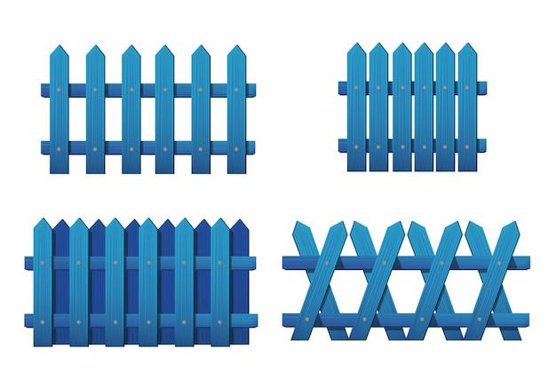 Différents Types De Clôture Bleue En Bois. Ensemble De Clôtures De Jardin Isolé Sur Blanc Vecteur Premium