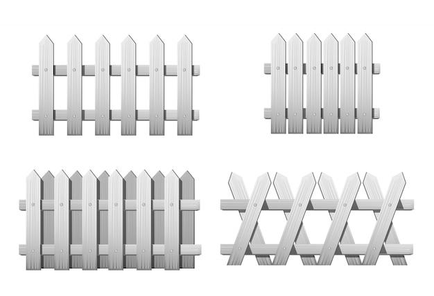 Différents Types De Clôture En Bois Blanc. Ensemble De Clôtures De Jardin Isolé Sur Blanc Vecteur Premium