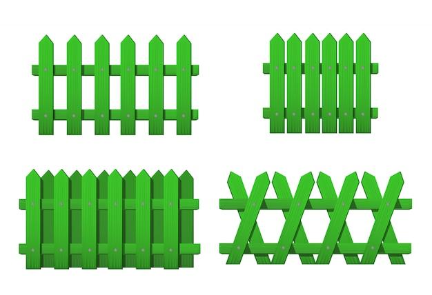 Différents Types De Clôture Verte En Bois. Ensemble De Clôtures De Jardin Isolé Sur Blanc Vecteur Premium