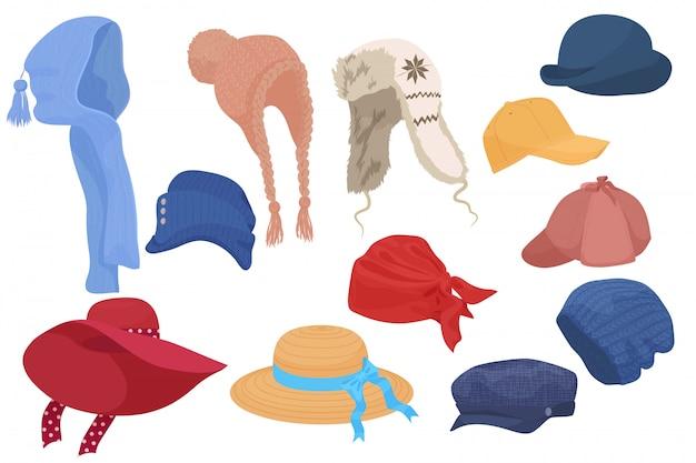 Différents types de collection de jeux de chapeaux de dessin animé. Vecteur Premium
