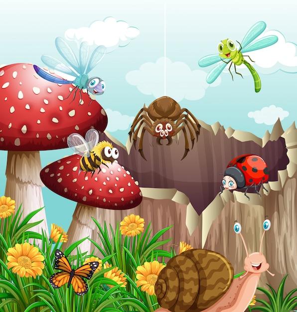 Différents types d'insectes dans le jardin Vecteur Premium