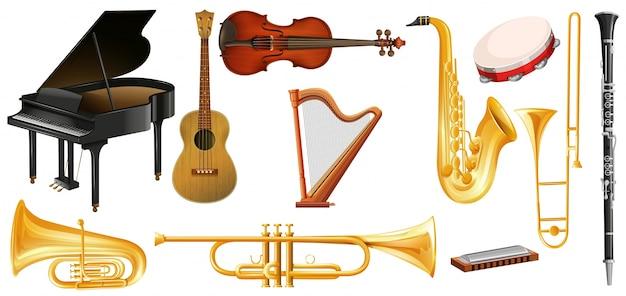 Différents types d'instruments de musique classique Vecteur gratuit