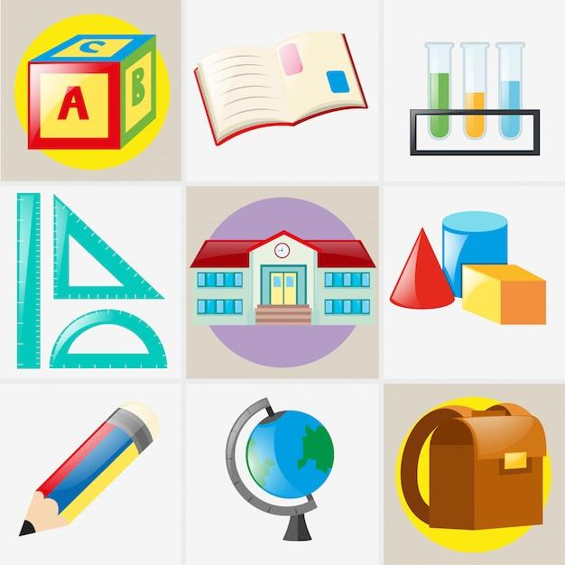 Différents types de matériels scolaires Vecteur gratuit