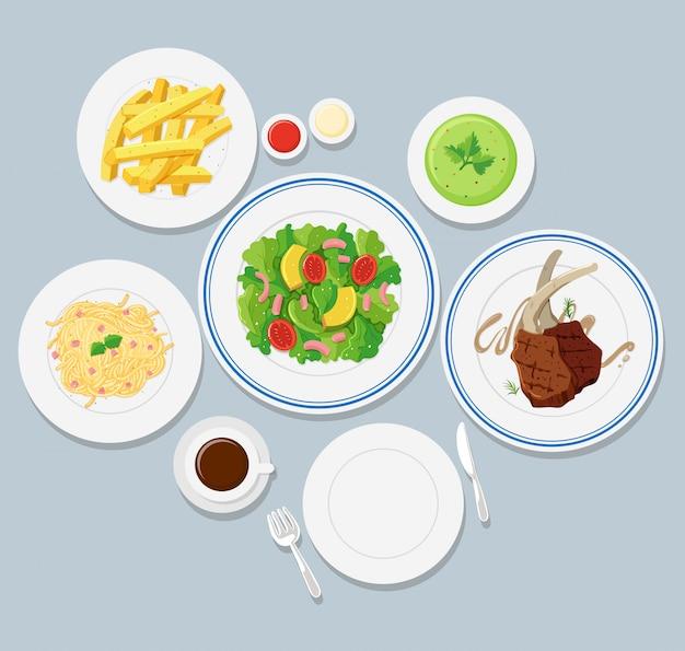 Différents types de nourriture sur fond bleu Vecteur gratuit